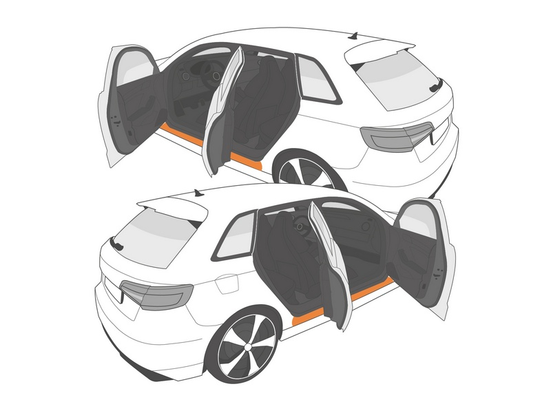 Einstiegsleistenschutzfolie › Transparent Glatt Hochglänzend | 8-teilig für 5-Türer | Peugeot 208 (II) ab BJ 06/2019