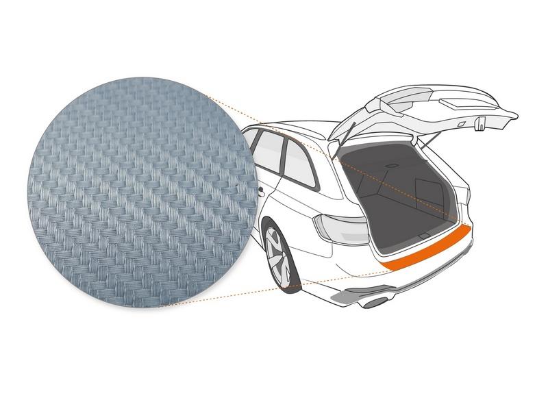 Ladekantenschutzfolie › Silber Carbon-Optik Matt | 160 µm stark | DS Automobiles DS 7 Crossback ab BJ 01/2018