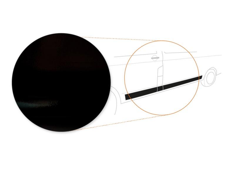 Seitenstreifen + Heckstreifen (kurzer Radstand) › Schwarz Glatt Hochglänzend | 110 µm stark | VW T5 BJ 07/2010- 06/2015